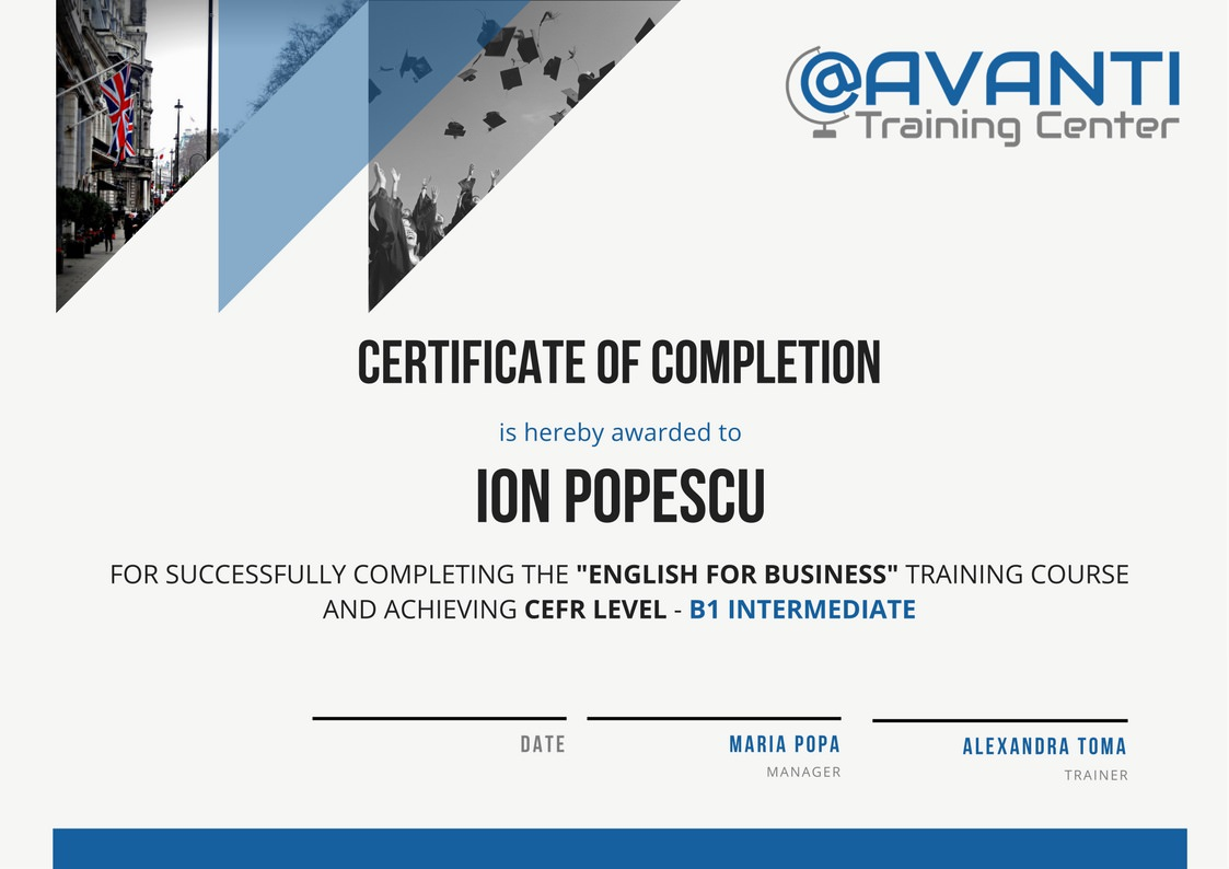 Certificat de competenta lingvistica (mostra) - Avanti Training Center